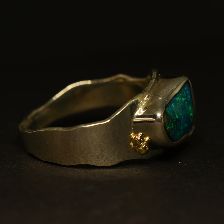 Boulder opal, palladium silver & 18ct yellow gold ring