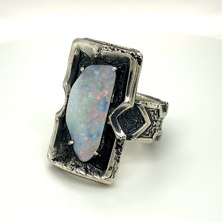 Opalised shell fossil & silver ring
