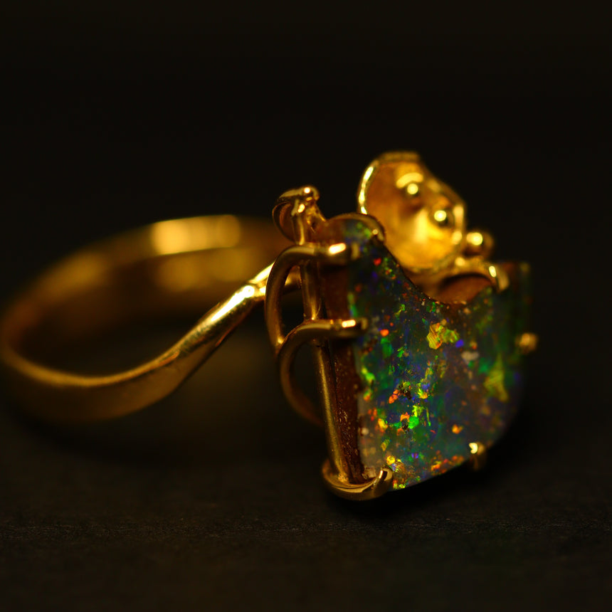 'Lily' Boulder opal & 18ct gold ring