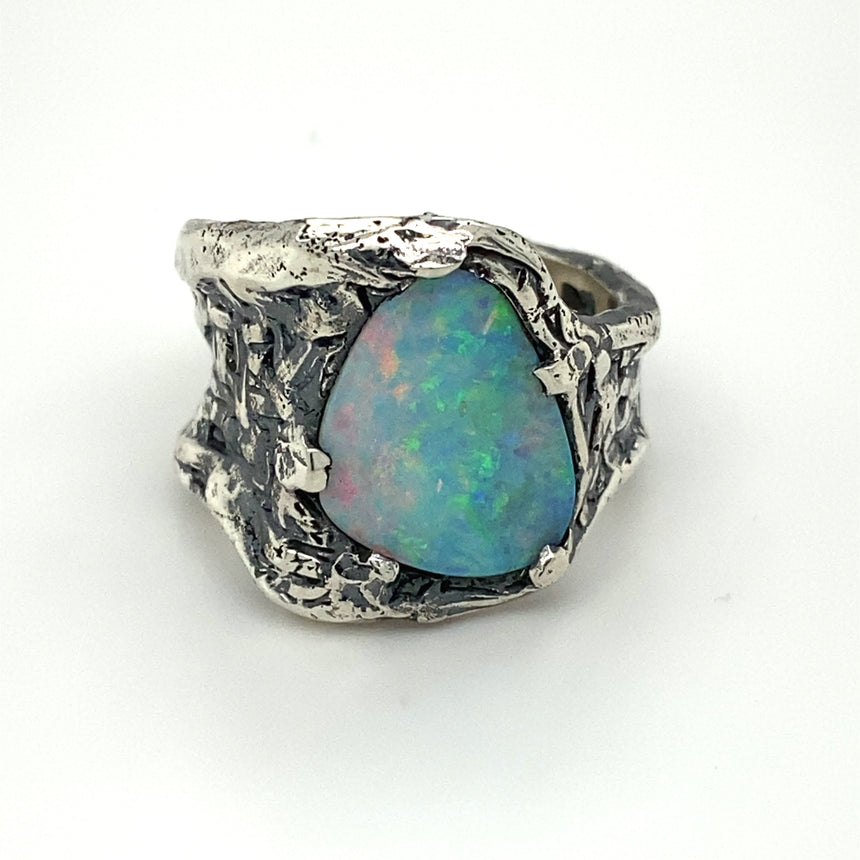 Opal & silver ring
