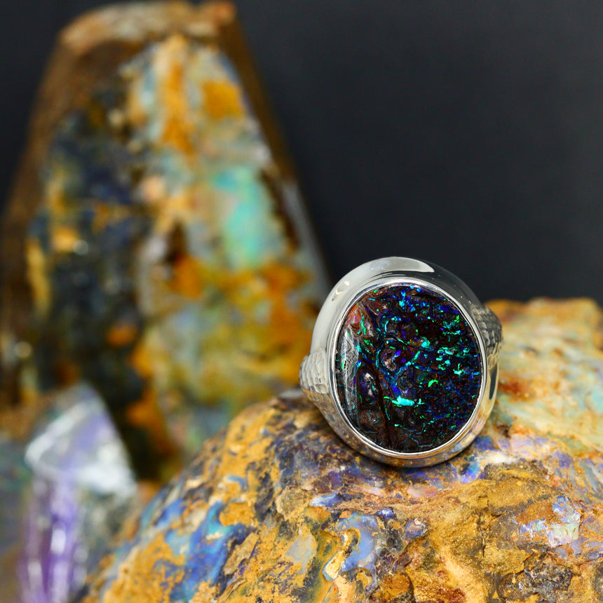 Opalised wood & palladium silver ring