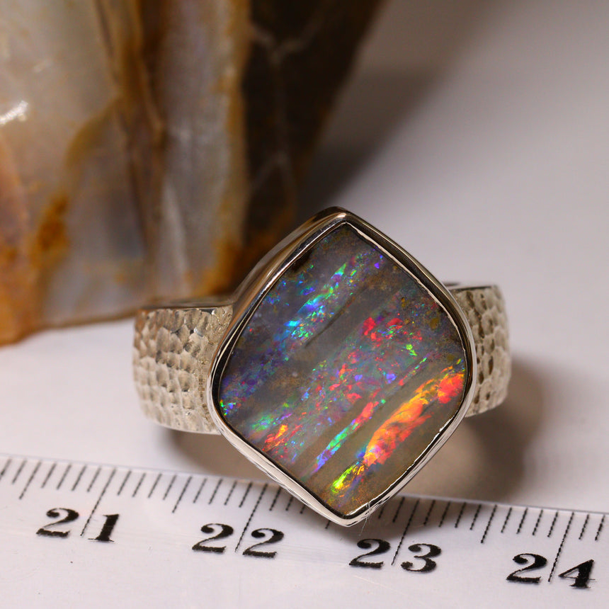 Gloriously large boulder opal & palladium silver ring