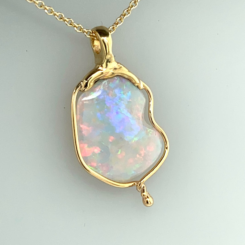 Crystal opal & Molten gold pendant