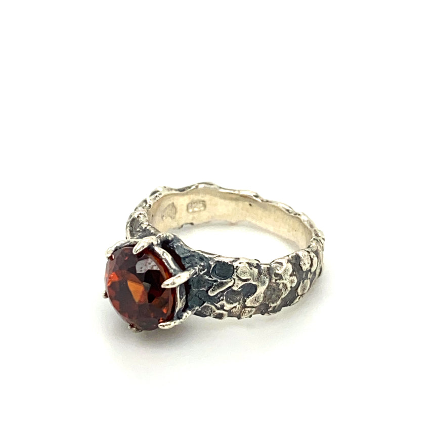 Burnt orange zircon & sterling silver ring