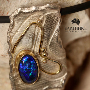 'Silver & Gold' series - Black opal, 9ct yellow gold & sterling silver.