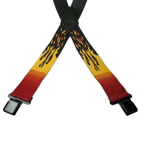 Flames 4 Clip Heavy Duty Brace/Suspender - Big Guys Menswear