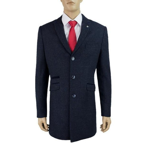 Cavani Danilo 3/4 Length Navy Tweed Overcoat - Big Guys Menswear