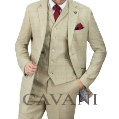 Cavani Draco Beige Check 3 Piece Suit - Big Guys Menswear