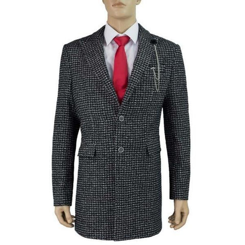 Cavani Signature Abe 3/4 Length Black & Grey Tweed Overcoat - Big Guys Menswear
