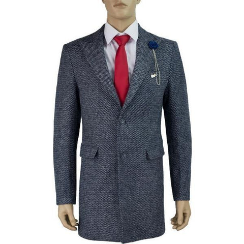 Cavani Signature Hank 3/4 Length Blue & White Tweed Overcoat - Big Guys Menswear
