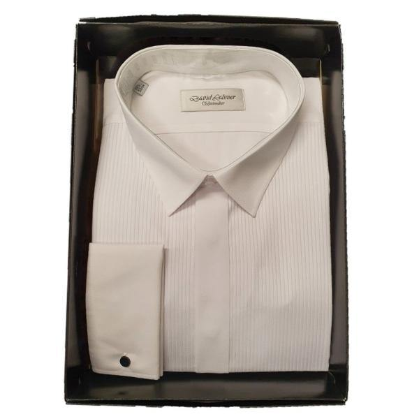 David Latimer Classic Fit White Full Front Pleat Dress Shirt in gift box