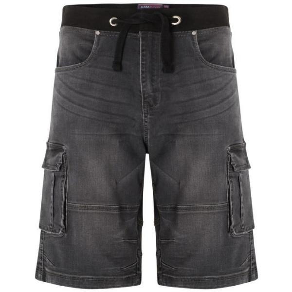 Kam Dito Elastic Denim Shorts - Charcoal | Mid Used | Light Used - Big Guys Menswear