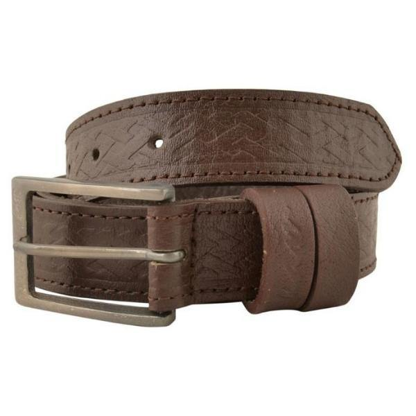 Kam Leather Basket Weave Pattern Belt