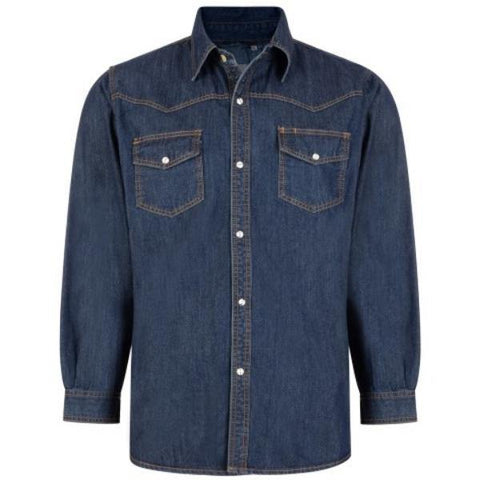 Kam Long Sleeved Denim Shirt ~ Sizes 2XL - 8XL Available - Big Guys Menswear