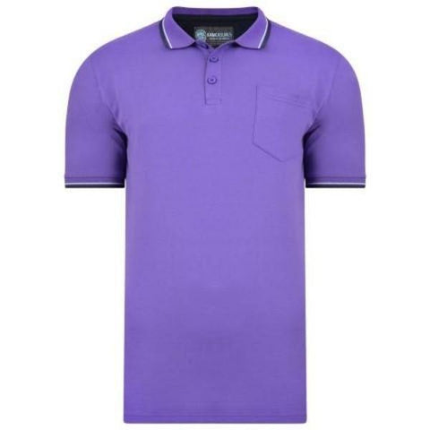 Kam Script Tip Collar Polo - 2 Available Colours sizes 3XL-8XL - Big Guys Menswear