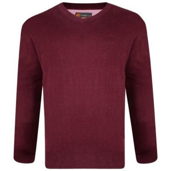 Kam V-Neck Long Sleeve Knit Jumper - 3 Colours Available - Big Guys Menswear