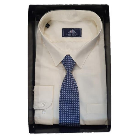 Rael Brook Classic Fit Short Sleeve Shirts with ties in gift box - 5 Colours available. - Big Guys Menswear