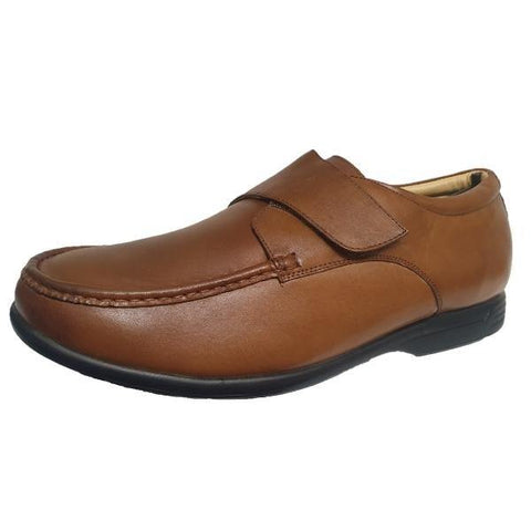 Roamers Extra Wide Fitting Tan Soft Leather Shoes - Big Guys Menswear