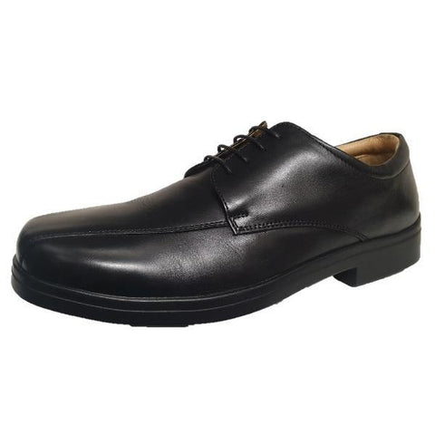 Roamers Laced Extra Wide Fitting Black Soft Leather Shoes - Big Guys Menswear