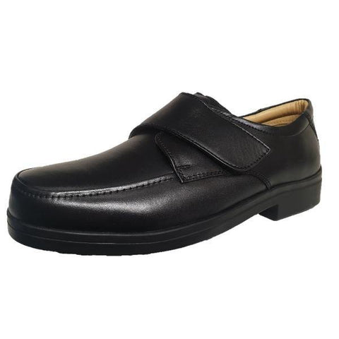 Roamers Lightweight Extra Wide Fitting Velcro Black Soft Leather Shoes - Big Guys Menswear