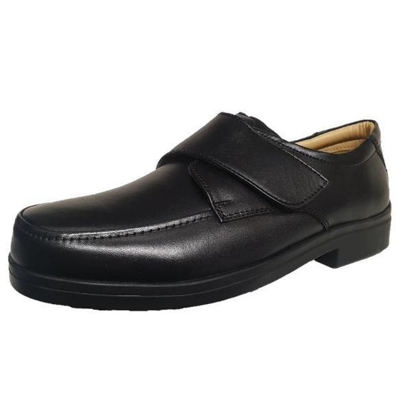 Roamers Lightweight Extra Wide Fitting Velcro Black Soft Leather Shoes