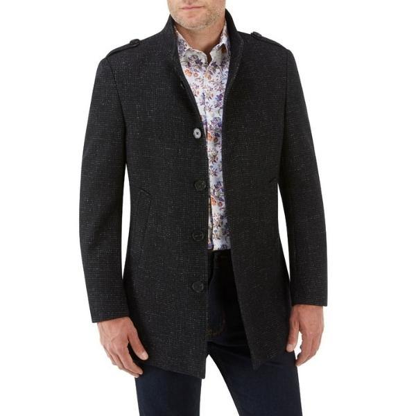 Skopes Black Textured 3/4 Length Stylish Overcoat