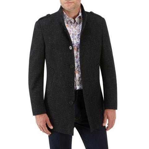 Skopes Black Textured 3/4 Length Stylish Overcoat - Big Guys Menswear