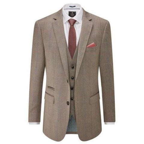 Skopes Dunstall Brown Check 3 Piece Suit - Big Guys Menswear