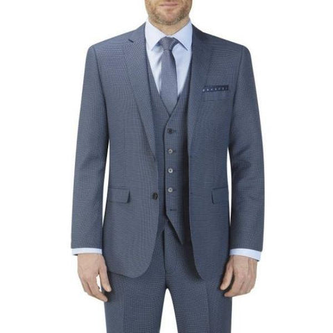 Skopes Fermo Blue Micro Check 3 Piece Suit - Big Guys Menswear