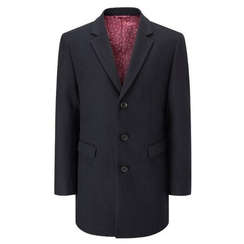 Skopes Navy 3/4 Length Smart Overcoat - Big Guys Menswear