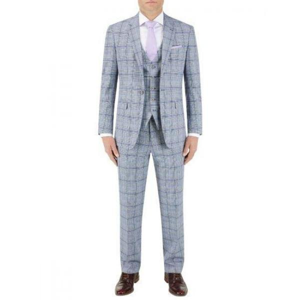 Skopes Stark Check Grey/Blue 3 Piece Suit