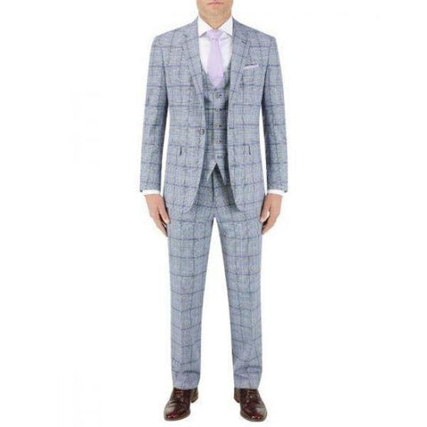 Skopes Stark Check Grey/Blue 3 Piece Suit - Big Guys Menswear