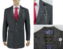 Load image into Gallery viewer, Cavani Signature Abe 3/4 Length Black & Grey Tweed Overcoat