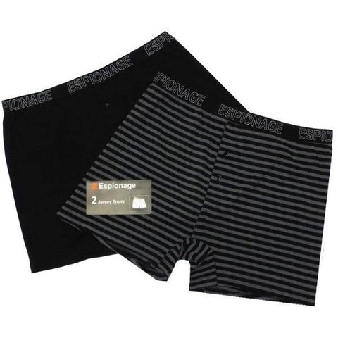 Espionage Striped & Normal Boxer Shorts ~ 2 Pack - Big Guys Menswear