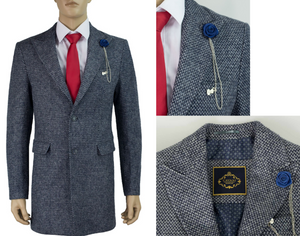Cavani Signature Hank 3/4 Length Blue & White Tweed Overcoat SMALL SIZES