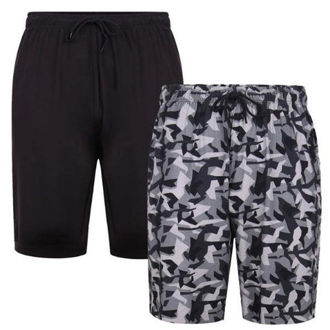 Kam Camo/Plain Lounge Shorts ~ Pack of 2 - Big Guys Menswear