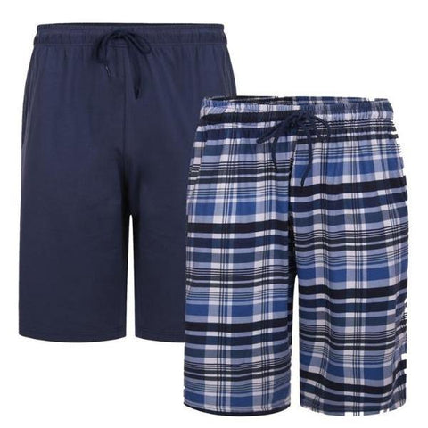 Kam Check/Plain Lounge Shorts ~ Pack of 2 - Big Guys Menswear