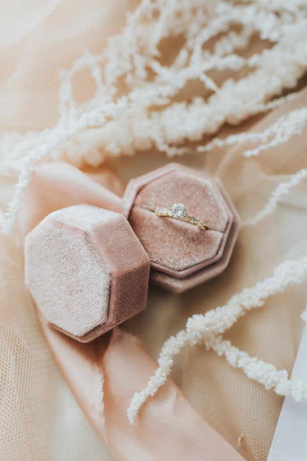 SECONDS // Octagonal Velvet Ring Box - Blush