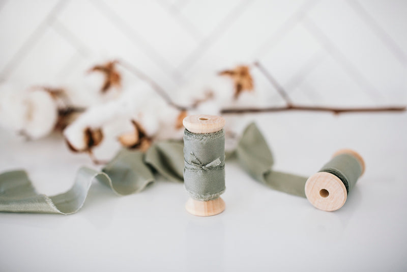 Premium Silk Bouquet Ribbon - Olive (5 metres long)