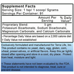 Terra Alkaline 4Salts Powder - 1 lb - (16 oz, 454 gram) Supplement Facts