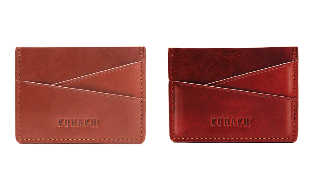 Lazy card holder wallet develops a rich patina over time.