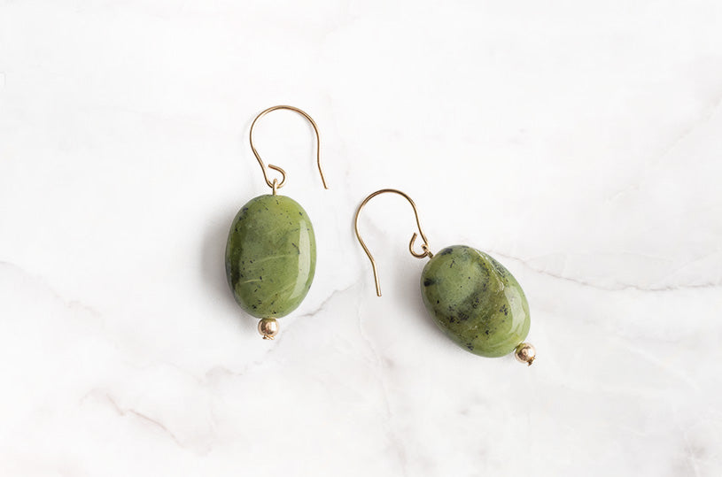 Every time you put these earrings on, feel the love and warmth that surrounds you. Let these lightweight green Jade gold earrings add some joy to your day.