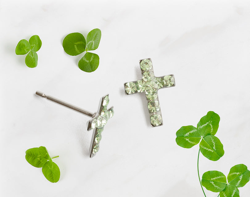 This stainless steel cross August stud earrings are perfectly sized and comfortable for everyday wear. Essential earrings for your everyday look. All pieces are nickel free and made with allergy safe pure metals.
