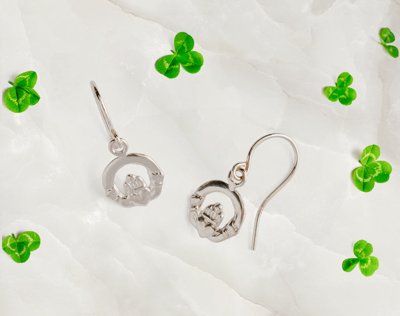 These 925 sterling silver french hook Irish Claddagh drop earrings are a must have accessory for any occasion. All pieces are nickel free and made with allergy safe metals.