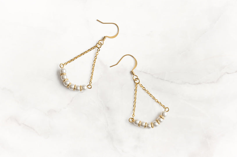 Let these gold plated chain and pearl earrings make you smile every time you wear them. Put them on and smile all summer long.