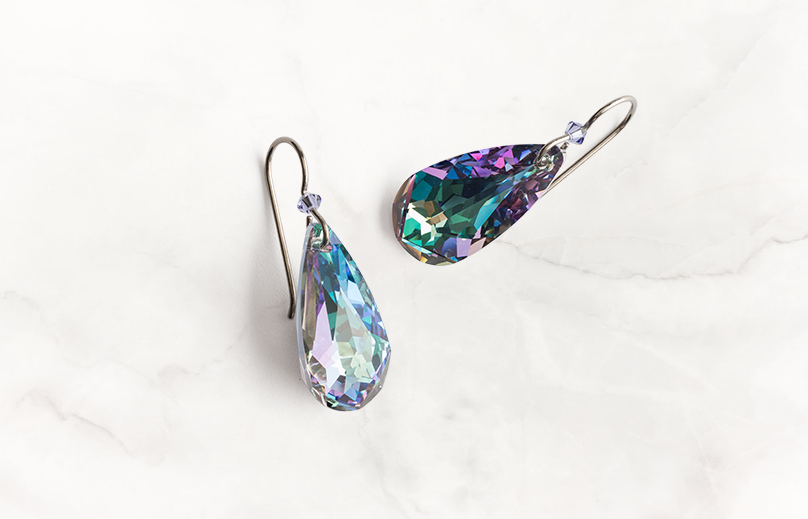 These nickel free purple Swarovski crystal titanium earrings are perfect for days when you want to increase your imagination and boost your creativity.