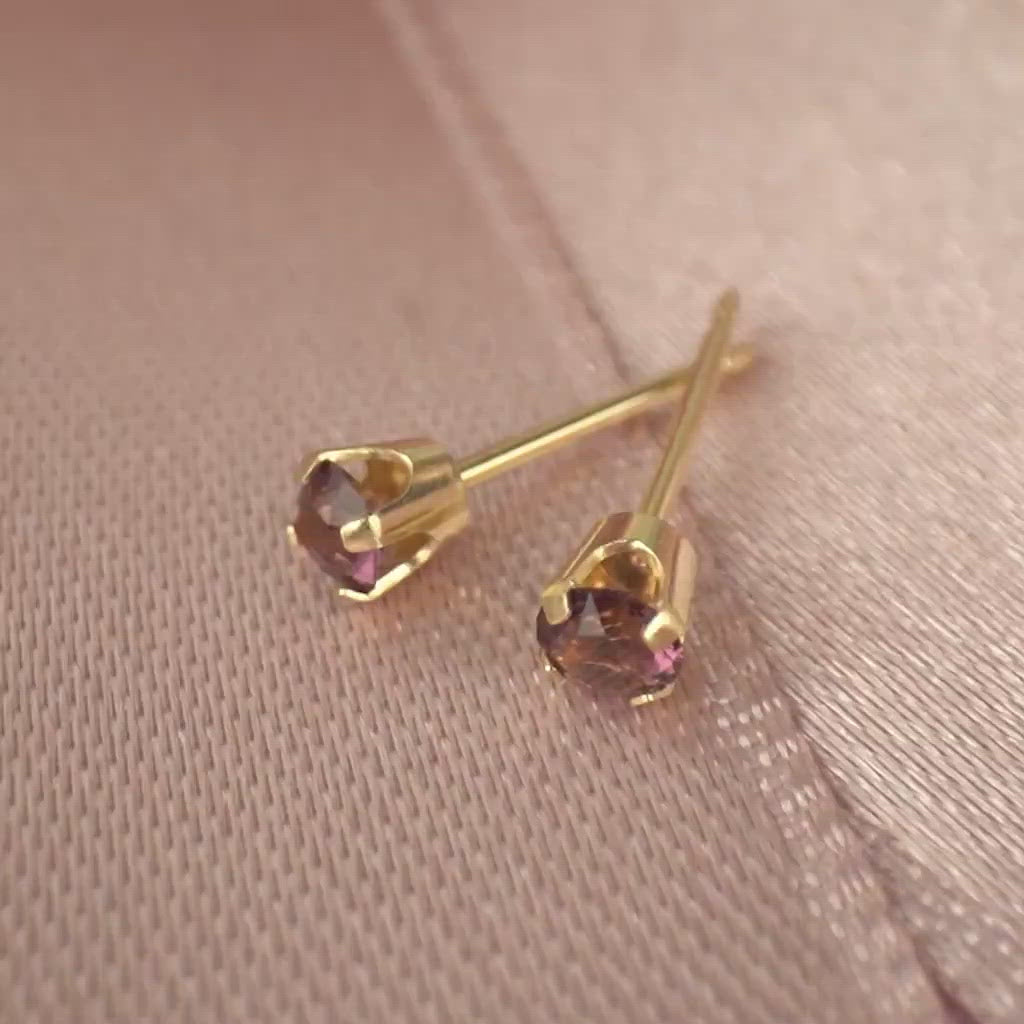 14k Gold February Birthstone Stud Earrings