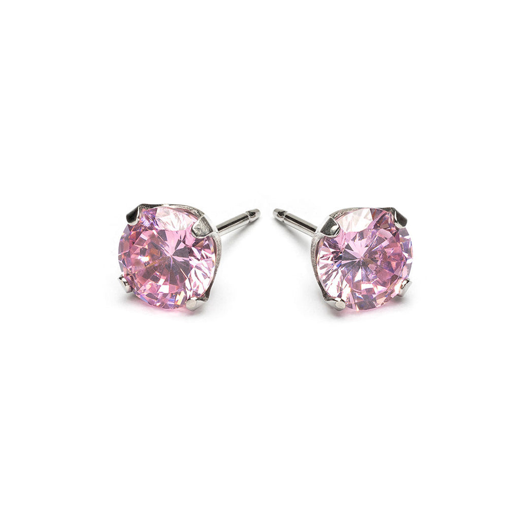Stainless Steel 6 mm Pink Cubic Zirconia Stud Earrings - Simply Whispers