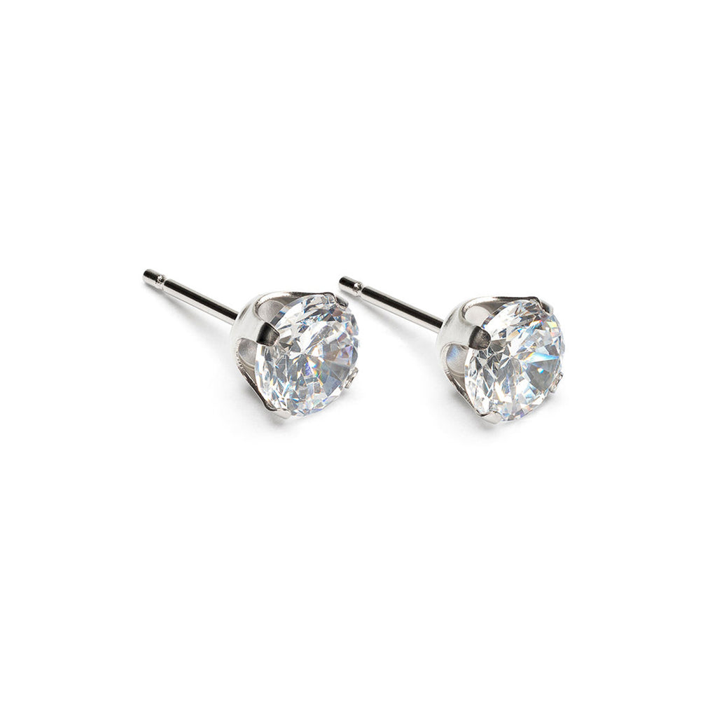 Stainless Steel 6 mm Round Cubic Zirconia Stud Earrings - Simply Whispers