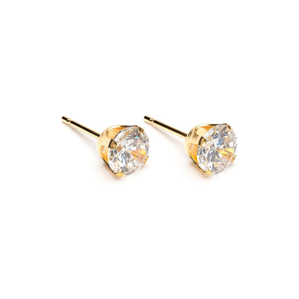 Gold Plated 6 mm Round Cubic Zirconia Stud Earrings - Simply Whispers